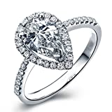 3 Ct Pear Shaped Halo Engagement Ring Pave Thin Band in Sterling Silver Size 7