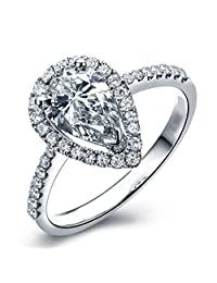 3 Ct Pear Shaped Halo Engagement Ring Pave Thin Band in Sterling Silver Size 5-9