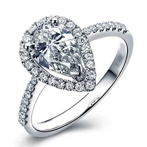 Lemon Grass 3 Ct Pear Shaped Cubic Zirconia Engagement Ring Pave Thin Band in Sterling Silver Size 8 ()