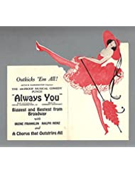 "Oscar Hammerstein 2nd ""ALWAYS YOU"" Irene Franklin / Ralph Herz 1920 Springfield Die-Cut Flyer"