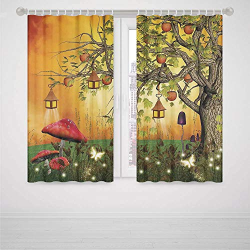 iPrint Batman Bedroom Curtains Fantasy House Decor Wonderland Forest with Fairies Butterflies Elves and Apple Tree Magical Universe High-Precision Blackout CurtainMulti