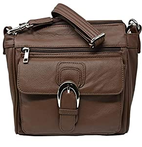 Brown Crossbody Leather Locking Concealment Purse CCW Concealed Carry Gun Bag