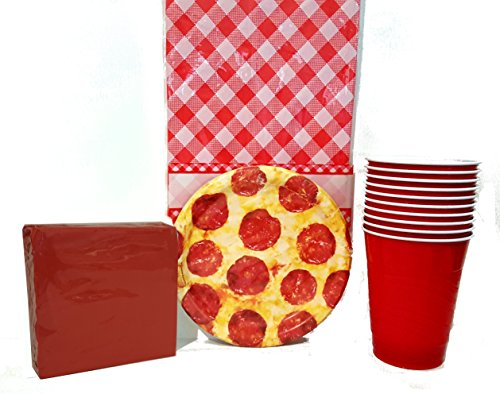 Gain Pizza Party Pack Bundle Supplies Plates Napkins Tablecloth & Cups Regular or Deluxe (Deluxe Package) Pizza Night occupation