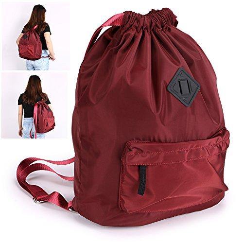 Hipiwe Drawstring Backpack with Large Capacity,Water Repellent Lightweight Travel Rucksack, Foldable Sport Gym String Bag Cinch Sack Sackpack Gymsack School Bag for Men Women Student Use (Burgundy)