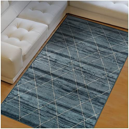 Superior Cullen Collection Area Rug, 10mm Pile Height with Jute Backing, Fashionable and Affordable Rugs, Sketched Windowpane Pattern over Watercolor Stripes – 8 x 10 Rug, Blue and Beige
