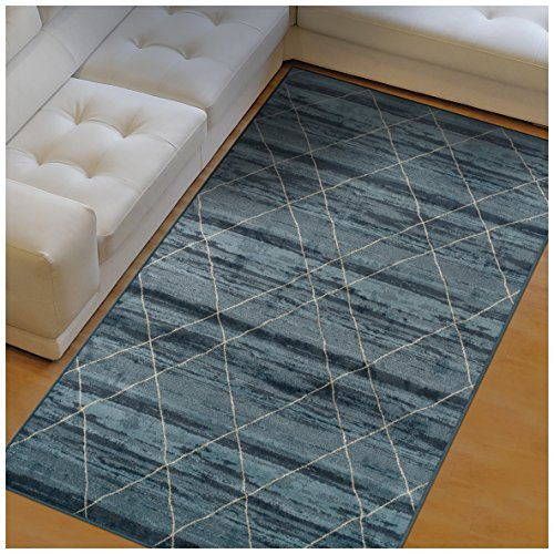 Superior Cullen Collection Area Rug, 10mm Pile Height with Jute Backing, Fashionable and Affordable Rugs, Sketched Windowpane Pattern over Watercolor Stripes – 5 x 8 Rug, Blue and Beige