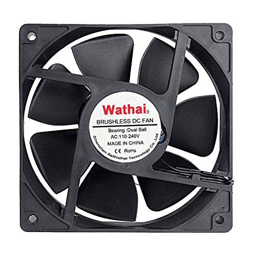 Wathai EC 120mm x 25mm Ball DIY Cooling Ventilation Exhaust Fan 110V 115V 120V 220V 240V AC Axial Case Fan ()