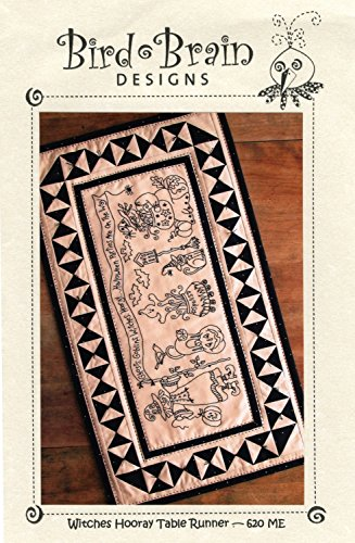 (Witches Hooray Halloween Table Runner Machine Embroidery Design by Robin Kingsley from Bird Brain Designs 620ME 16