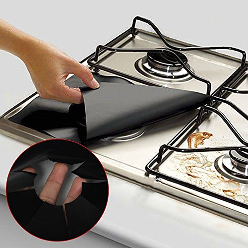 Nyalex - 1pc Black Reusable Gas Range Stovetop Burner Protec