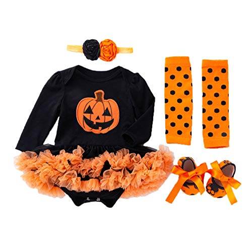 BabyPreg Baby Girls Halloween Skeleton Tutu Dress Set, Infant Pumpkin Costume (Pumpkin Long Sleeves, S for 3-6 Months) -
