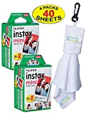 Photo : Fujifilm Twin-Pack of 10 Instax Mini Film (40-Sheets) | Designed for Mini 8 / Mini 9 Camera | Develops and Prints Photos Instantly | -Bonus- Free Lens Cleaner Microfiber Cloth