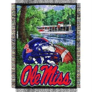 The Northwest Company Officially Licensed NCAA Mississippi Old Miss Rebels Home Field Advantage Woven Tapestry Throw Blanket, 48