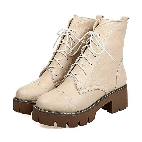 AllhqFashion Damen Mittler Absatz Rein Ziehen auf Rund Zehe Stiefel, Cremefarben, 39