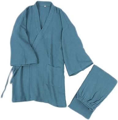 Hombre Albornoz Kimono Yukata Bata Camisón Algodón M L Azul