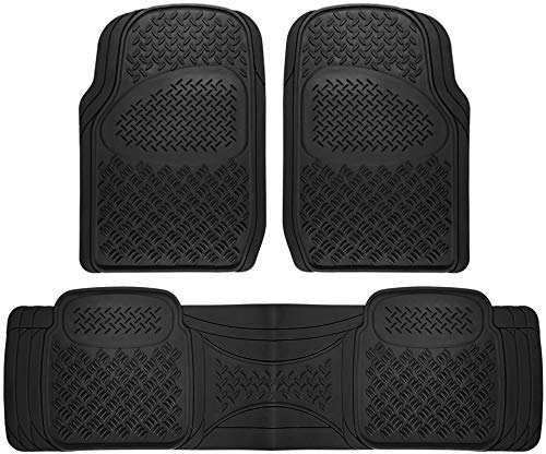 Motorup America Auto Floor Mats (3-Piece Set) All Season Rubber - Fits Select Vehicles Car Truck Van SUV, Diamond Black (2006 Toyota Highlander Floor Mats All Weather)