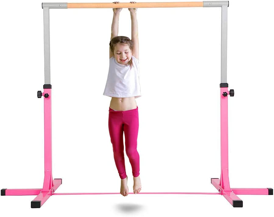 Polar Aurora Gym Gymanastics Training Bar Adjustable Height (3'-5') Horizontal Bar Sturdy Gymnastic for Kids