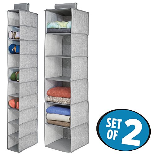 mDesign Fabric Hanging Closet 6-Shelf Sweater Organizer, 10-Shelf Shoe Organizer - Set of 2, Gray