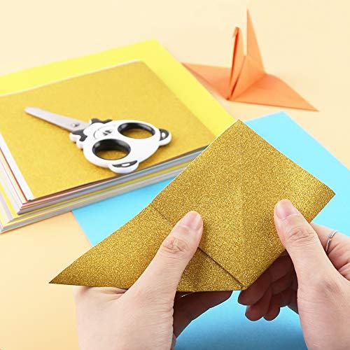 Koogel Origami Papier, 160 Stück 50 Farben Zweifarbige Einseitige Origami Papier Buntes Quadratisches Faltpapier für DIY Kunst- und Bastelprojekte