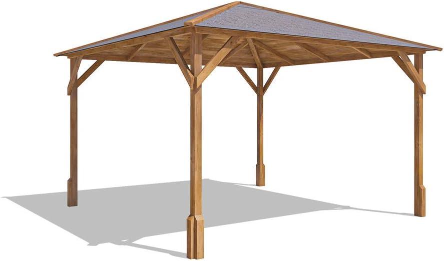 Cenador de madera Utopia 300 de 3 x 3 m, hecho de madera tratada a presión: Amazon.es: Jardín
