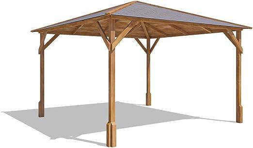 Cenador de madera Utopia 300 de 3 x 3 m, hecho de madera tratada a ...