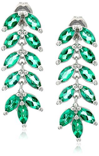 Sterling Silver Created Emerald Marquise Cut Leaf Post Drop (Marquise Created Emerald Ring)