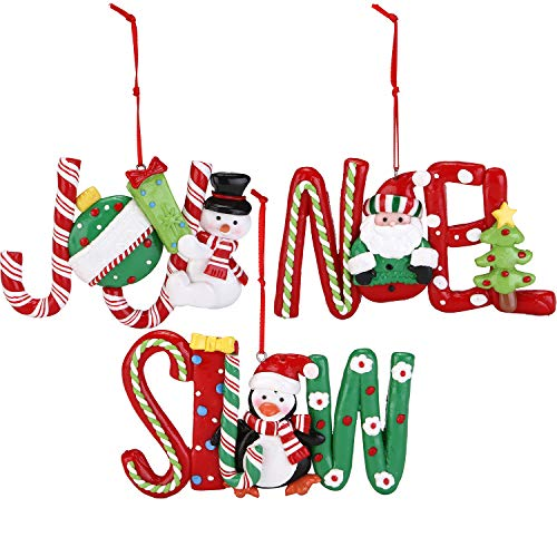 - Sea Team Assorted Hanging Letters Holiday Decoration Clay Ornaments Traditional Joy, Snow, Noel Hanging Charms Christmas Tree Ornament, Set of 3