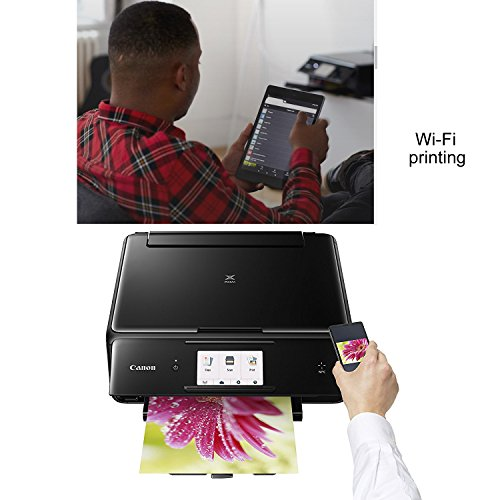Canon Pixma TS8020 Wireless All-In-One Printer with Scanner, Copier & 4.3'' Touch Screen (Black) + Set of Ink Tanks + Photo Paper Sample + USB Printer Cable + HeroFiber Ultra Gentle Cleaning Cloth by HeroFiber (Image #2)