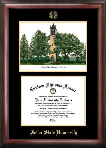 Campus Images Iowa State University Gold embossed diploma frame lithograph