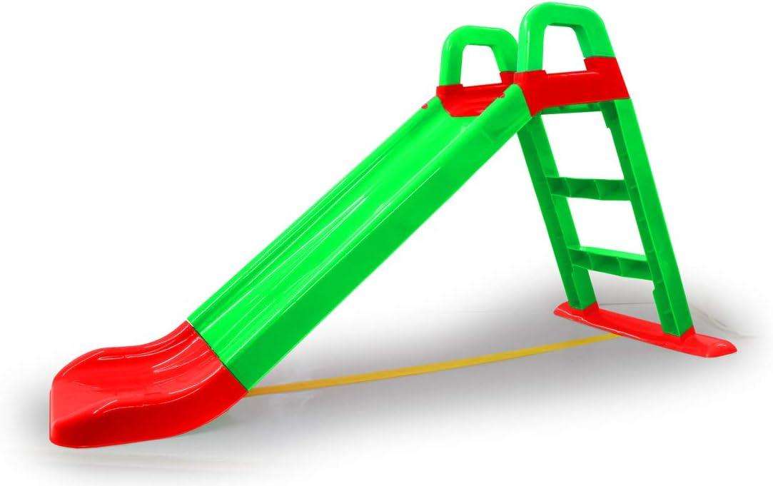 Jamara- Tobogán Funny Slide Verde – de plástico Resistente, caño Antideslizante para aterrizajes Suaves, peldaños Anchos y Asas de Seguridad, Cuerda de estabilización, Color (460502)