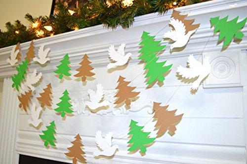 Christmas tree and dove garland, Christmas Decor, woodland Christmas garland, (Dove Christmas Tree)