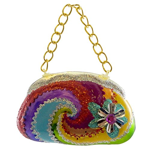 Holiday Ornament GROOVY PURSE SILVER Glass Handbag Peace 3613960 -
