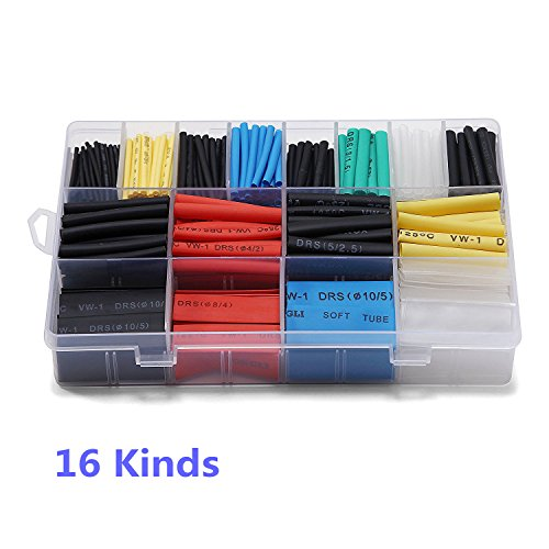 Ginsco 580 pcs 2:1 Heat Shrink Tube 6 Colors 11 Sizes Tubing Set Combo Assorted Sleeving Wrap Cable Wire Kit for -