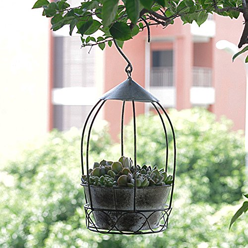 Hanging Planters Large 7.0 In Iron Flower Pots Outdoor, Garden Planters for Plants Grey Wrought iron flower pot flower box