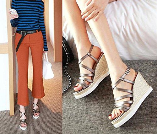 Sandales Compensées Femme Mode Sangles Croisées Chaussures à Talons Hauts Été Marron k5h6R