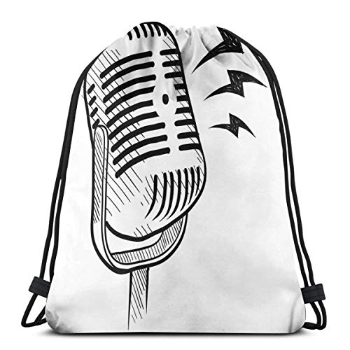 Printed Drawstring Backpacks Bags,Retro Microphone Communication And Media Concept Radio Show Speech Talk Podcast,Adjustable String Closure
