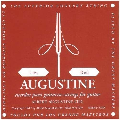 Augustine – Juego de cuerdas clásico tensión mediana Classic Red – Rojo
