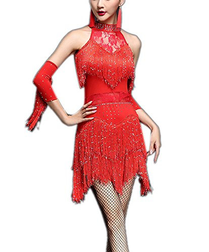 Halter Tango Salsa Great Gatsby Party Dance Class Dresses Costumes Outfits Red, Red, ()