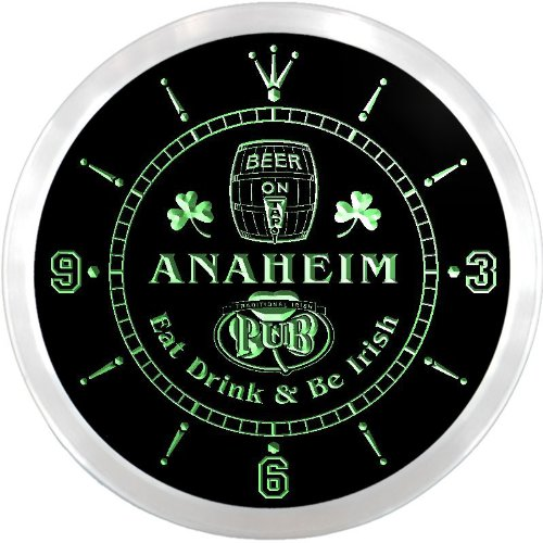 Anaheim Neon Sign - ncpa2104-g ANAHEIM Irish Shamrock Pub Beer LED Neon Sign Wall Clock