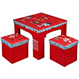 Rexco Childrens Kids Toddler Square Folding Pirate Design Table and Chairs Stool Set Foldable Playroom Bedroom Childs Nursery Furniture Xmas Gift