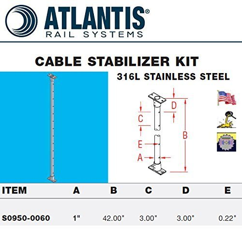 S0950-0060 1'' X 42'' Cable Stablizer Kit 316ss