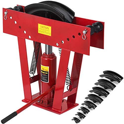 Happybuy 16 Ton Exhaust Tubing Bender 1/2 Inch Square Hydraulic Hand Pump Tubing Bender Stroke 130mm Pipe Bending Tool Steel Pipe Bender with 8 Dies