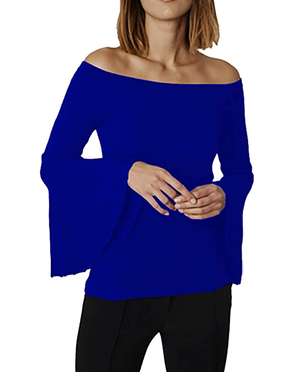 525 America Off The Shoulder Bell Sleeve Sweater in Indigo