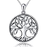 Sterling 925 Silver Tree Of Life Charms Pendant Necklaces Long jewelry chain 18 Inch Chirstmas Gift For Women Or Girls