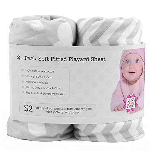Playard Sheets, 2 Pack Clouds/Chevron Fitted Soft Jersey Cotton Playpen Bedding by Jomolly (Image #2)