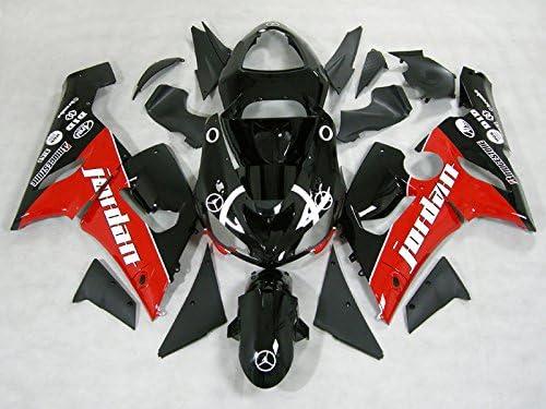 Moto Onfire ABS Plastic Fairing Kits with Full Fairing Bolts For Kawasaki ZX6R ZX-6R Ninja 636 2005 2006 ZX6R ZX-6R Ninja 636 05 06 (Black Red)