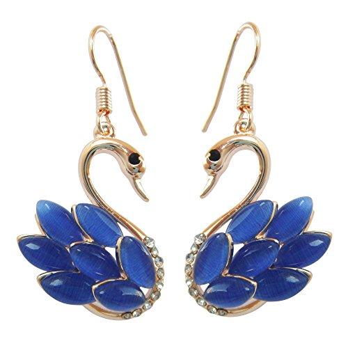 Navachi 18k Yellow Gold Plated Swan Bird Navy Blue Created-Opal Crystal Az2105e Dangle Drop Earrings