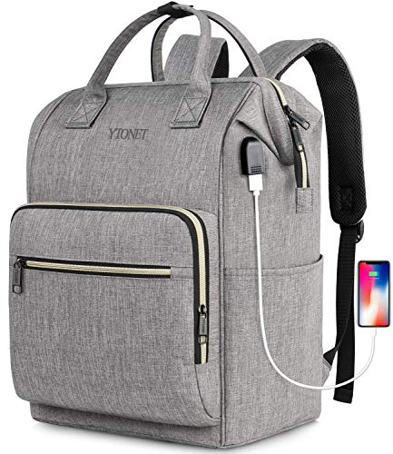 Travel Laptop Backpack for Women,Rfid Anti Theft Durable Stylish Casual Backpack with USB Charging Port,15.6 inch School Bookbag Wide Open Travel Carry on Backpack for Computer Notebook Gifts,Gray