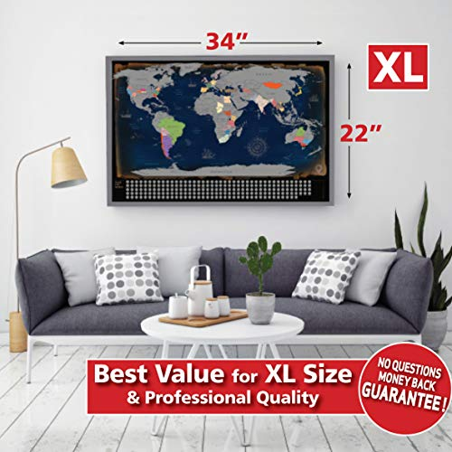 Scratch Off World Map by Travel Revealer  XL 34x22'' Scratch Off Map of the  World Poster  USA States, Country Flags, Bonus Tools  World Scratch Map