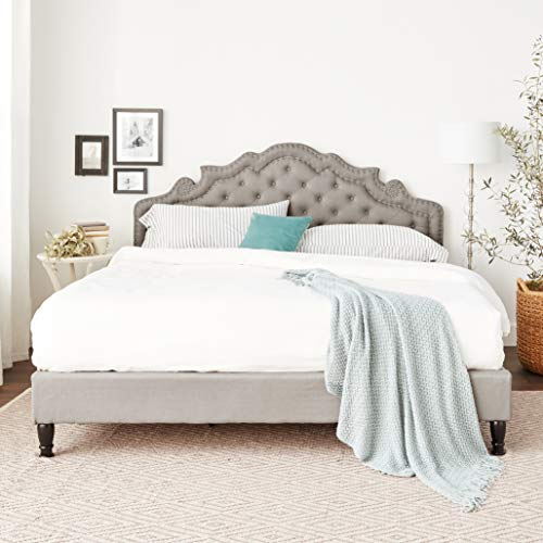 """Home Life Premiere Classics Cloth Light Grey Silver Linen 51"""" Tall Headboard Platform Slats King-Complete Bed 5 Year Warranty Included 023"""