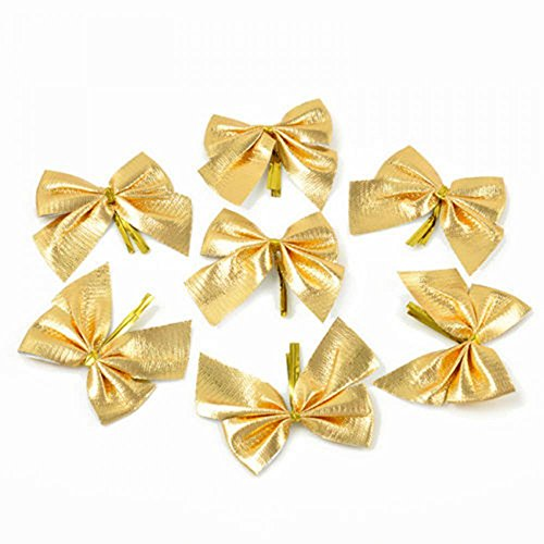 ORYOUGO 24pcs Christmas Tree Bowknot,Bow Bowknot Christmas Tree Hanging Decorations Xmax Tree Ornaments for Wedding Valentine's Day gift DIY,Gold